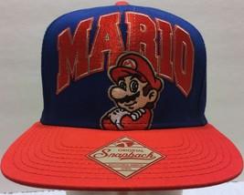 NWOT Super Mario Blue Red Snapback Hat Nintendo Bros. Plumber Game Embroidered - $42.07
