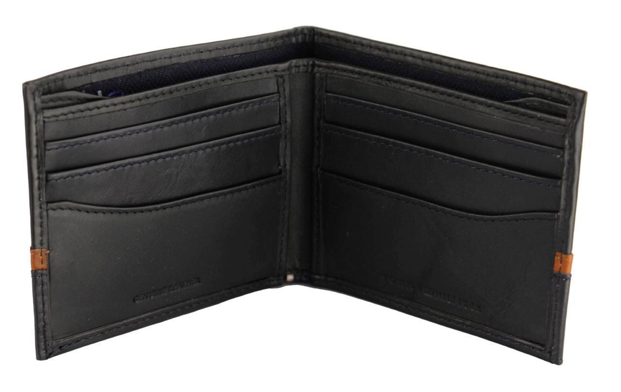 New Men/'s Tommy Hilfiger Leather Double Billfold Wallet Oxblood 31tl13x041 Black
