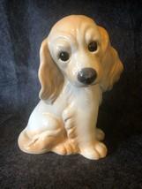 Tall Vintage Ceramic Cocker Spaniel Brown Blonde Adorable Dog Puppy - $11.30