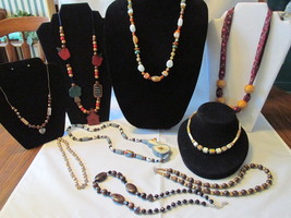 Lot of Vintage Beaded Necklaces - Glass, Stone, Wood, Metal & Plastic Beads - $9.99