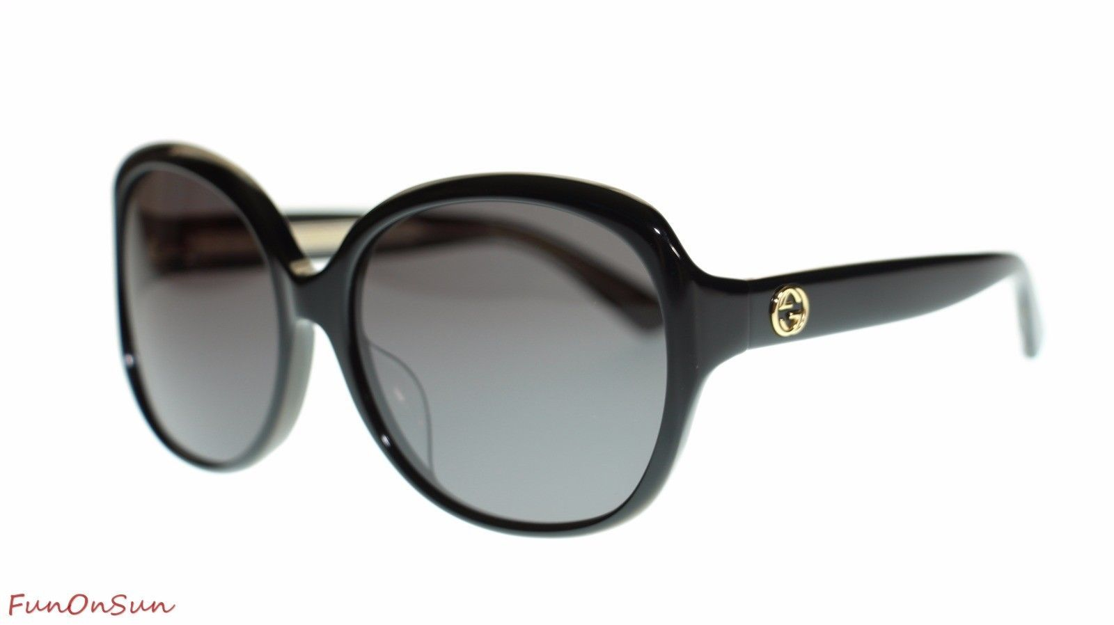 100bd255b2 S l1600. S l1600. Previous. Gucci Women Oval Sunglasses GG0080SK 001 Black Grey  Lens 61mm Authentic