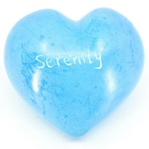 """Vaneal Group Hand Carved Soapstone 2-Sided """"Serenity"""" Sky Blue Heart Paperweight image 2"""