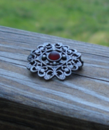 Ornate Vintage Brooch w Red Glass Cabochon - $33.00