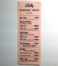 Bally Operators Prices Original Arcade Game & Bingo Pinball Machine July... - $13.37