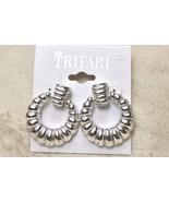 Trifari Ribbed Silver Tone Hoop Pierced Earrings - $11.87