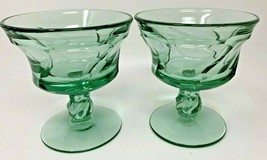 2 Jamestown Green Fostoria Elegant Glass Swirl 2719 Stem Champagne Tall ... - $20.42