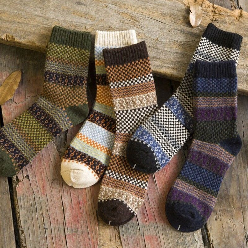 5Pk/ Vintage Men's Warm Winter Thick Wool Mix Soft Cashmere Casual Dress Socks