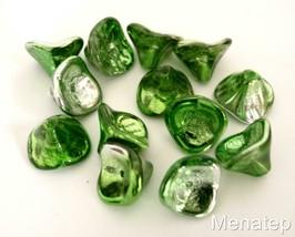 12 12 mm Three Petal Flower Beads: Metallic Green/Silver - $2.41