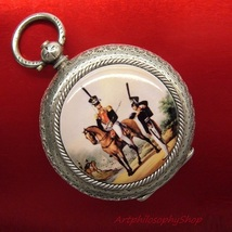Antique Swiss 935 Silver Enamel Russian Hussar Denis Davydov Pocket Watch - €1.758,17 EUR