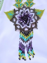 Purple Green & Gold Beaded Handmade Mexican 3D Flower Necklace : #05 - $67.00
