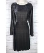 BRYN WALKER Velvet Dress Women's S Gray Brown Long Sleeve Tie Back Peasant - $59.49