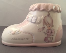 Precious Moments Jesus Loves Me Shoe Bank Enesco Baby Girl Boot Porcelai... - $8.99