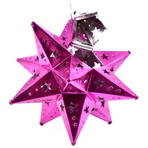 """Small 6.5"""" Hanging Tin Pink Fuchsia Mexican Moravian Star Ornament Decoration image 2"""