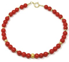 18K YELLOW GOLD BRACELET, RED CORAL SPHERES 4/4.5mm, ALTERNATE GOLD BALLS image 1