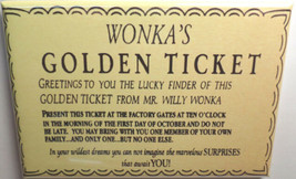 WILLY WONKA AND THE CHOCOLATE FACTORY GOLDEN TICKET MAGNET 2X3 INCHES CHARLIE   image 1