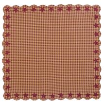 BURGUNDY Star Scalloped Table Cloth - 60x60 - Burgundy/Dark Tan - VHC Brands