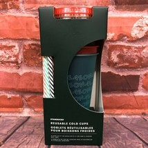 NEW Starbucks 2019 Holiday Christmas Reusable Cold Cups With Straws 24oz 5 Pack - $35.00