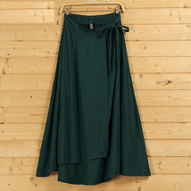 Women High Waist Wrap Skirts Ankle Length Linen Cotton Skirt,Khaki Wine-red Gray image 5