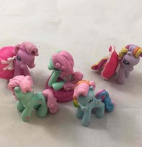 My Little Pony Miniature Figurine 5 Lot Toy Cake Topper Magic Horse Pink... - $10.39