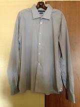 John Varvatos USA Cotton Blend White & Black Check Shirt SZ 18/36/37 Sli... - $25.84