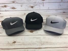 3 Mens Nike Golf Hats Fitted 99 Perf Cap Dri Fit Stretch Black Grey M/L ... - $39.97