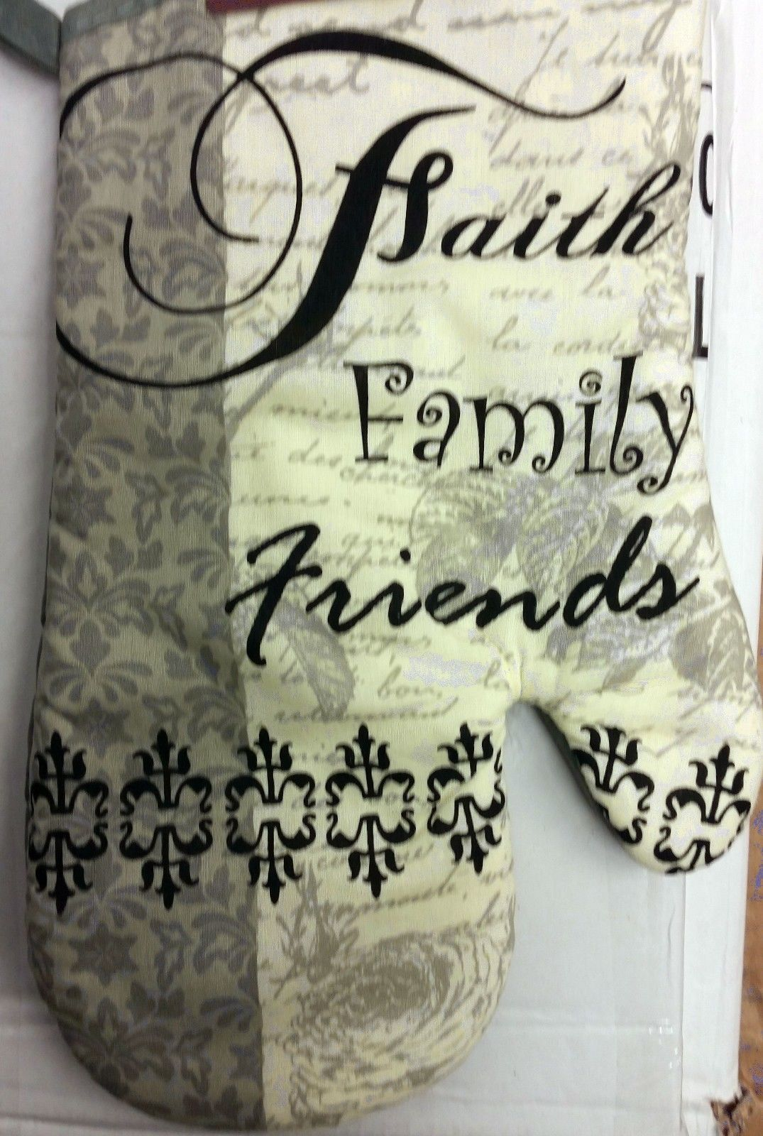 "Printed 13"" Jumbo Oven Mitt, FAITH FAMILY FRIENDS, silver back"