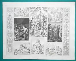 ITALY ART of Raphael Romano Cortona Caracci del Sarto - 1844 Superb Print - $16.20