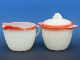 Vintage Fire King Sunrise Red Swirl Creamer & Sugar Bowl with Lid
