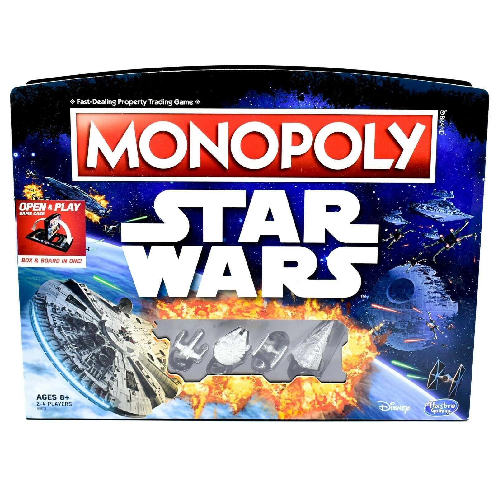 Hasbro B8613 Gaming Monopoly Star Wars Open & Play Board Game 100% Complete