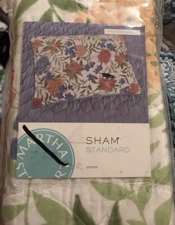 Martha Stewart Standard Pillow Sham Antique Market Quilted NIP