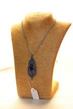 Macrame Necklace Brass Amethyst  jewelry Stone Cord Handmade Bohemian 201 - $22.00
