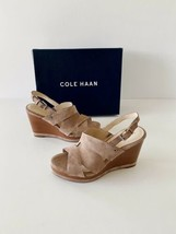 ✨New COLE HAAN Laci Suede Platform Wedge Sandals Stone Taupe Womens Size 7.5B  - $74.54