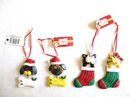 Lot 4 Rubber Christmas Gift Tag Ornament Puppy Kitten Kitty Cat Stocking... - $12.99