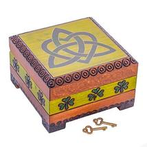 M. Cornell Celtic Knot Shamrock Green and Brown 5 x 5 Wood Decorative Box with L - $35.63