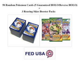 Pokemon TCG 50 Card Lot Includes 5 HOLOs and 3 Roaring Skies Booster Packs - $21.95