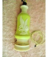 Vtg Green Aladdin Alacite Electric Lamp Lily of the Valley-Harp-Cord Good - $45.49
