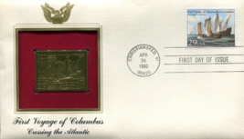 FIRST VOYAGE of COLUMBUS : Crossing the Atlantic First Day Gold Stamp Is... - $5.50