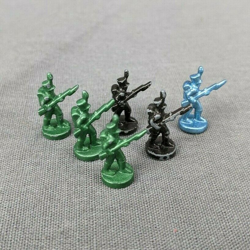 Primary image for Risk 40th Anniversary Edition Board Game Metal Soldiers 3 Green 2 Black 1 Blue