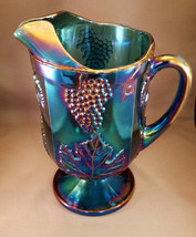 Vtg 2 qt. Harvest (Carnival Glass) Pitcher w/ Ice Guard by the Indiana Glass Co. - $29.25