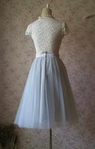 Lady GRAY Tulle Skirt A Line Full Pleated Gray Tea Skirts Custom Size NWT image 6
