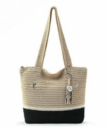NWT The Sak Riviera Crochet Shoulder Bag Tote Shopper Bamboo Block SHP INTL - $64.00