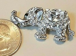 "Elephant Pin Rhinestone Silvertone 1-3/8"" Moving Trunk - $12.82"