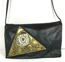 Eye of Horus Vintage Slim Black Faux Leather Crossbody Shoulder Bag- Unique - $41.70