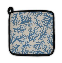 Potholder, Coral Pattern On Beige In Vintage Style Blue Coral Reef Illus... - $27.44