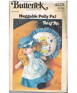 Vintage Butterick 4519 Huggable Polly Pal Stuffed Doll and Pillow Sewing... - $8.00