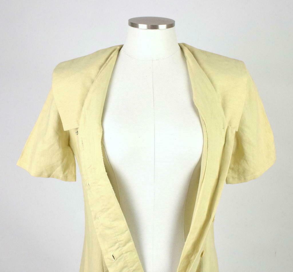 Vintage 80s Beige Cream Maxi Dress Cracker Jack Collar Short Sleeve Retro Size M image 4