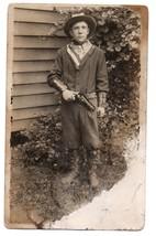 Antique Postcard Photo RPPC Unusual Armed Cowboy Pistol , leather Cuffs ... - $25.00