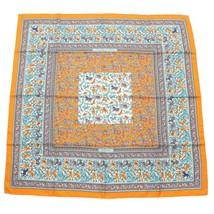 Hermes Scarf CHASSE EN INDE Silk 90 cm Orange Carre Shawl Stole 22 - $411.36 CAD