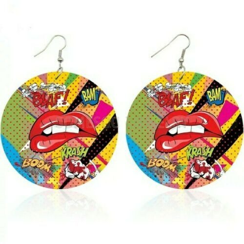 Primary image for Red Pop Art Comic Sexy Lip Circle Round Colorful Design Hoop Dangle Earrings
