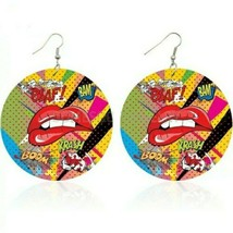 Red Pop Art Comic Sexy Lip Circle Round Colorful Design Hoop Dangle Earrings - $14.85